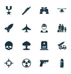 battle icons set collection of fugitive missile vector image