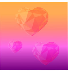 Romantic background hearts at colorful gradient vector