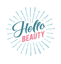Logo hello beauty lettering custom vector