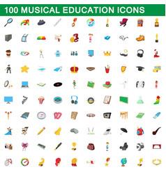 100 musical education icons set cartoon style vector