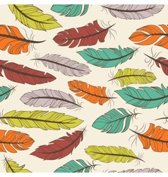 Seamless pattern of colorful feathers vector