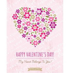 Pink background with valentine heart of spring flo vector