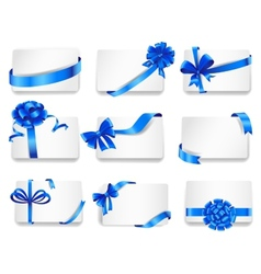 Set of beautiful cards with blue gift bows vector