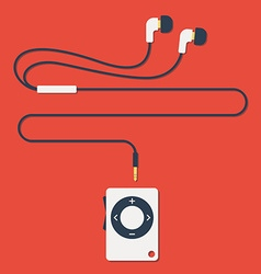 Modern mp3 player with earphones in flat style vector