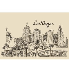 Las vegas skyline engraved vector