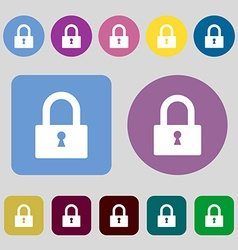 Lock sign icon locker symbol 12 colored buttons vector