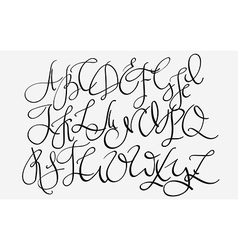 Handwritten pointed pen flourish font vector