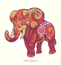 Elephant pink ornament ethnic vector