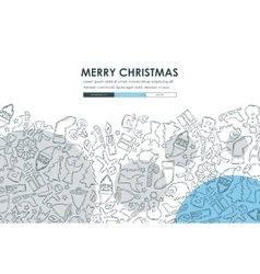 Christmas doodle website template design vector