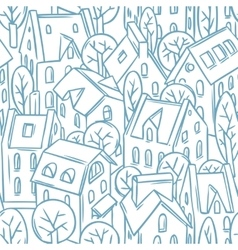 City seamless pattern with roofs vector
