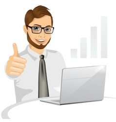 Business man working on laptop vector