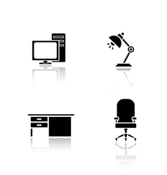 Office interior elements drop shadow icons set vector