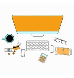 Set of flat design for desktop line icons flat vector