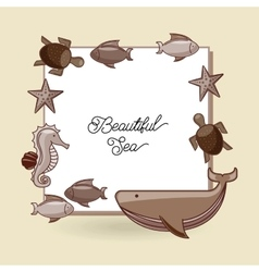 Sea animal flat icon design vector