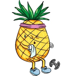 Bright cartoon pineapple playing sports in the vector