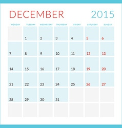 Calendar 2015 flat design template december week vector