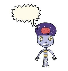 Cartoon weird robot with speech bubble vector