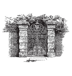 Colonial gate charleston vintage engraving vector