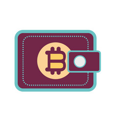 color wallet icon with bitcoin currency sign vector image