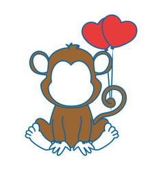 Cute monkey with balloons air character icon vector