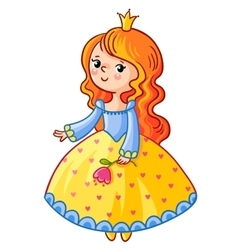 Cute princess stand on a white background vector