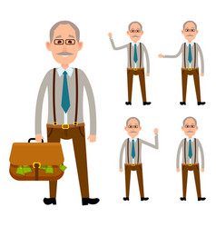 Elderly person holding bag with money on white vector