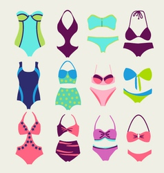 Fashion collection swimming suits vector
