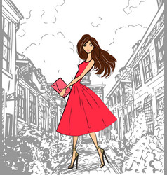fashionable cute girl in pink dress walking down vector image vector image