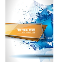 Glass Banner with Abstract Shape and glossy effect vector image