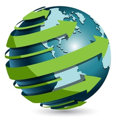 globe with green arrow vector image