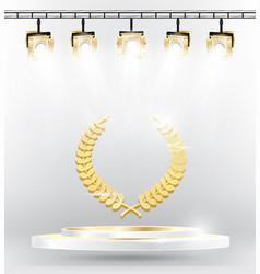 gold laurel wreath on podium with spotlights vector image
