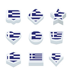 Greece flags icons and button set nine styles vector