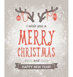Greeting card merry christmas lettering vector