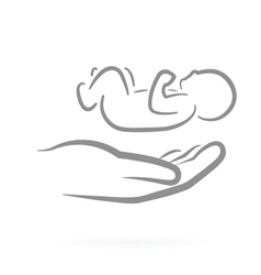 hand and child symbol vector image