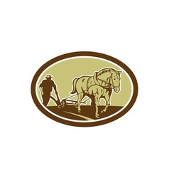 Horse and farmer plowing farm oval retro vector