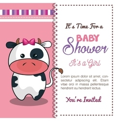 Invitation baby shower card with cow desing vector