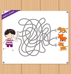 Maze game funny kid try to find animals vector
