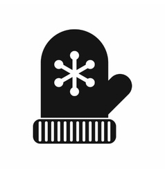 Mitten icon black simple style vector image