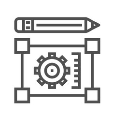 pensil with blueprint line icon vector image