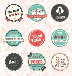 Retro poker card labels vector