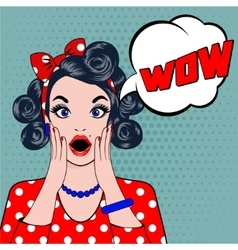 Wow bubble pop art surprised woman face vector