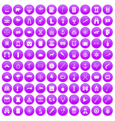 100 binoculars icons set purple vector