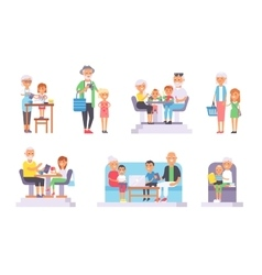 Old and young people set vector