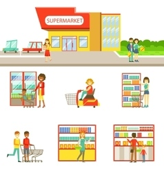 Grocery shop exterior and people shopping set of vector