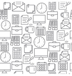 Different line style icons seamless pattern office vector