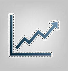 growing bars graphic sign  blue icon with vector image