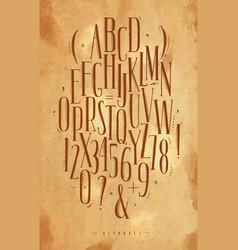Alphabet gothic font craft vector