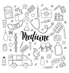 Big set of hand drawn doodle medicine with vector