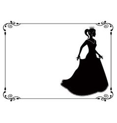 Princess silhouette in long dress and retro frame vector