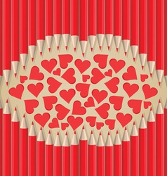 Lips heart shape out of pencils valentines day vector
